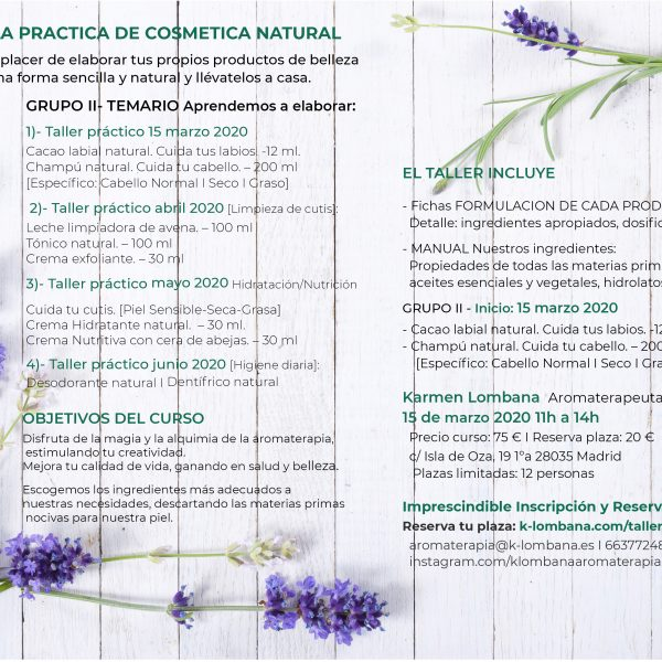 escuela práctica de cosmetica natural artesanal