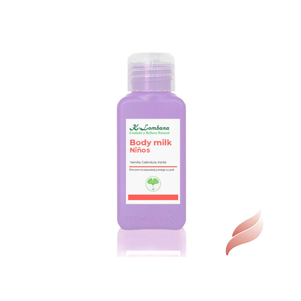 body milk niños Leche de textura suave y ligera, con un delicioso aroma: Aceites esenciales naturales: Lavanda y Mandarina.